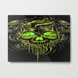 Glossy Yella Skeletons Metal Print