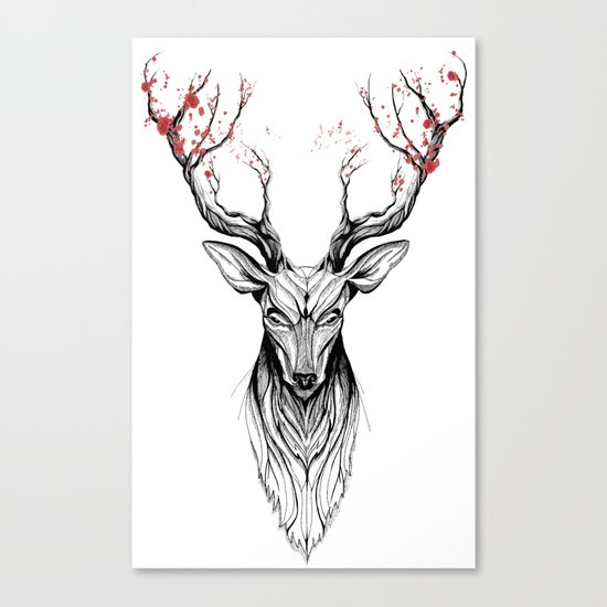 Deer tree (black stroke version for t-shirts) Canvas Print