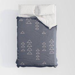 Modern Minimalist Triangle Pattern in Slate Blue Comforters