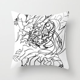 Dragon and human Throw Pillow