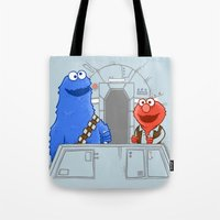 elmo Tote Bags featuring Han Elmo and the Wookie Monster by NathanJoyce