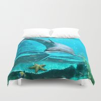 dolphin Duvet Covers featuring Dolphin by Simone Gatterwe