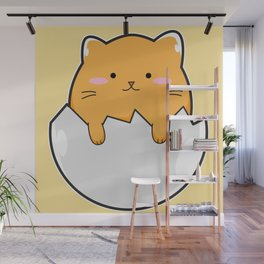 Yellow Cat Egg Wall Mural