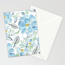 Blue flower garden watercolor Stationery Cards