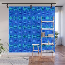 Pattern of intersecting blue hearts and sea bands. Wall Mural
