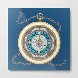 Fantasy Nautical Compass with Dolphins Metal Print
