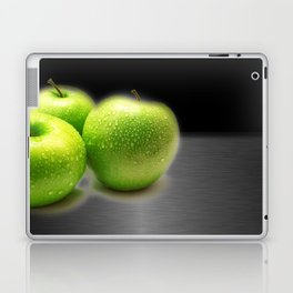 Wet Green Apples on Metallic Background Laptop & iPad Skin