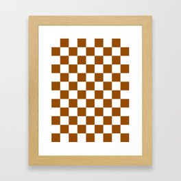 Checkered - White and Brown Framed Art Print