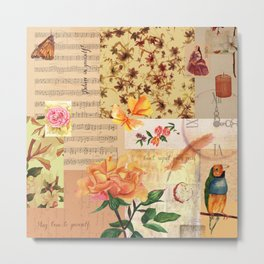 Vintage Collage with Sheet Music Metal Print
