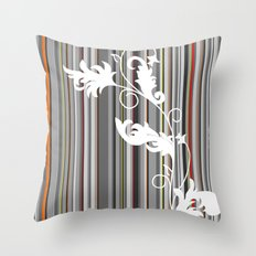 Gray and White Pinstripe Floral Line Design Throw Pillow