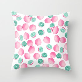 Citrus Lemons in Pink and Teal Throw Pillow