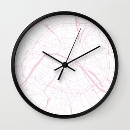 Paris France Minimal Street Map - Pretty Pink and White Wall Clock