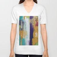 chakra V-neck T-shirts featuring Aum Chakra  by Prema Designs