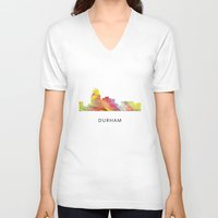 north carolina V-neck T-shirts featuring Durham North Carolina Skyline by Marlene Watson