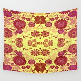 Red Retro Floral Wall Tapestry