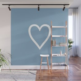 Heart sign on placid blue background Wall Mural