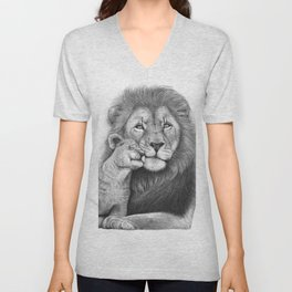 Lion with a baby Unisex V-Neck