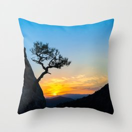 Sunrise in mountains with tree and sea. Throw Pillow