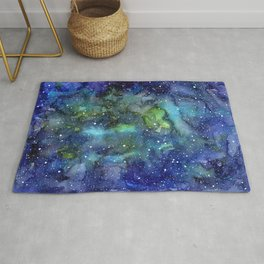 Space Galaxy Blue Green Watercolor Nebula Painting Rug