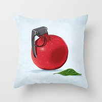 pomegranate Throw Pillows featuring Pomegranate by Robert Richter – Artist & Illustrator
