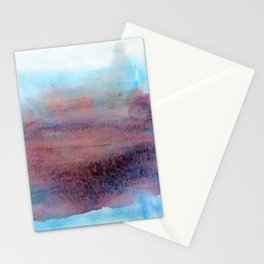 Abstract elegant watercolor art in blue and purple colors Stationery Cards