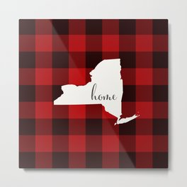 New York is Home - Buffalo Check Plaid Metal Print