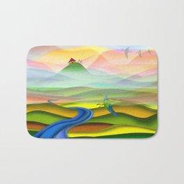 Fantasy valley naive artwork Bath Mat