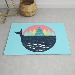 Whale, Fjord, Norway Retro Gift and Souvenir Rug