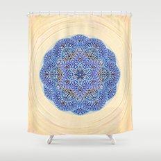 Blue Morocco Tile Mandala Shower Curtain