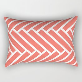 Bright coral and white herringbone pattern Rectangular Pillow