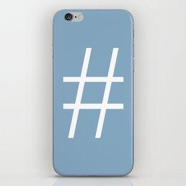 number sign on placid blue color background iPhone Skin
