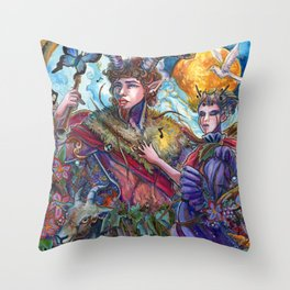 Pan and Selene Throw Pillow