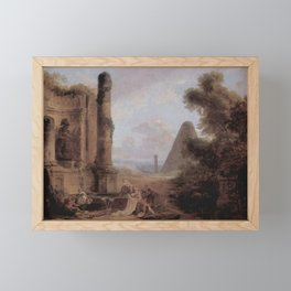Hubert Robert - Fantastique Landscape with the Pyramid of Cestius and a Ruined Temple Framed Mini Art Print