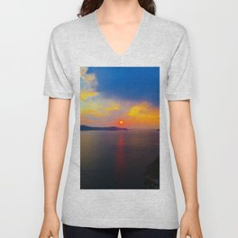 Fira,Sunset Unisex V-Neck