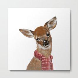 Christmas Baby Deer Metal Print