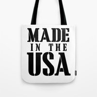 patriots Tote Bags featuring Made in the USA - black text by Retro Designs