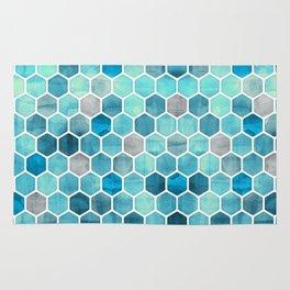 Blue Ink - watercolor hexagon pattern Rug