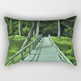 Bridge in the Woods Painting, Print of Original Art, Path in the Forest Art Print, Rectangular Pillow