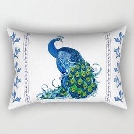 Decorative Blue Peacock Rectangular Pillow