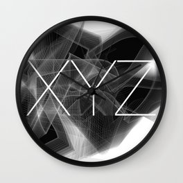 Typographic treatment of letters XYZ. Dark Math XYZ. Wall Clock
