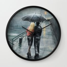 Rainy Walk Wall Clock