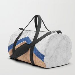 Arrows - White Marble, Blue Granite & Wood #436 Duffle Bag