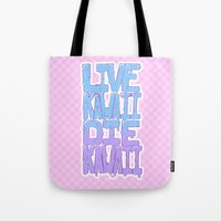 kawaii Tote Bags featuring Live Kawaii Die Kawaii by Lixxie Berry Illustration
