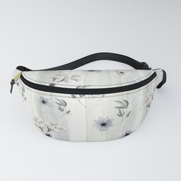 Winter Watercolor Flowers and Leaves Fanny Pack