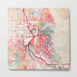 Ogden map Utah UT Metal Print