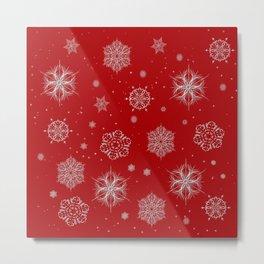 Silver snowflakes Metal Print