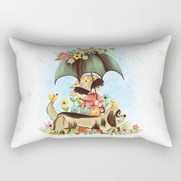 Rain on the green grass, Rain on the tree, Rain on the housetop, But not on me Rectangular Pillow