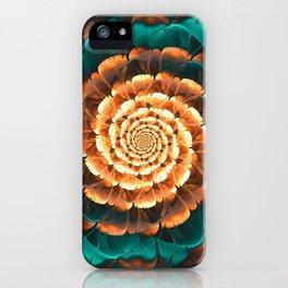 Abloom in Golden-Aqua Petals of a Fractal Sun Rose iPhone Case