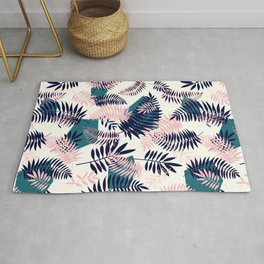 Tropical palm leaves and geometric shapes pattern Rug