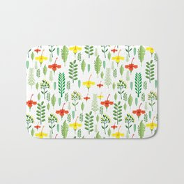 Colorful orange yellow green tropical floral Bath Mat